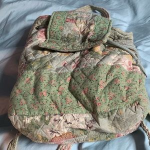 Handbags - Pretty cool vintage quilted floral backpack